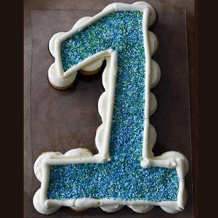 Cupcakecijfer Blauw Sprinkels